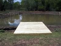 Pier built on private pond with 3 in. PVC pipe for post 8' x 12'