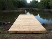 Pier built on private pond with 3in. PVC pipe for post 8' x 26'